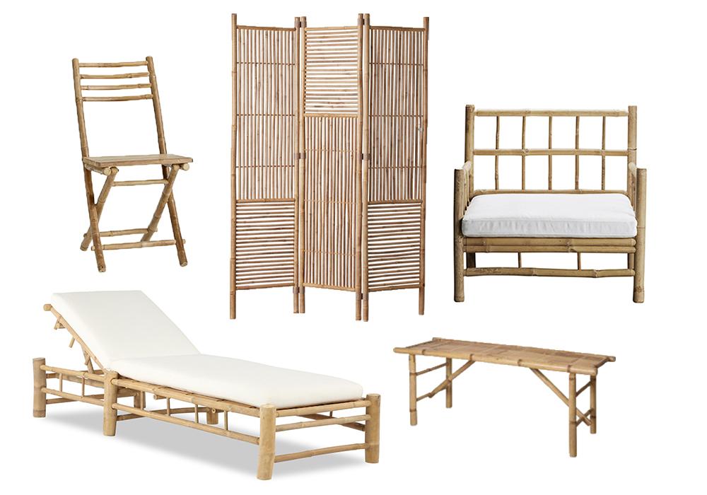 Utemöbler i bambu