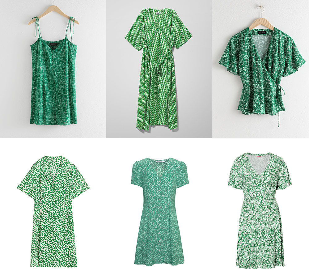 Grön småmönstrad klänning